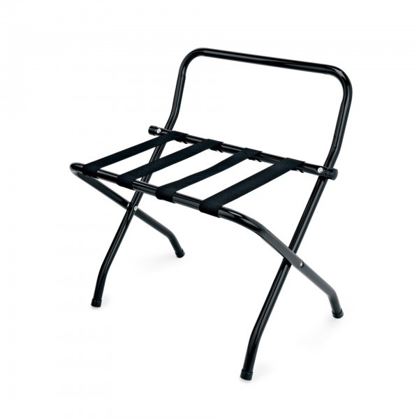 Kofferständer - Stahl - schwarz - mit Wandschutz
