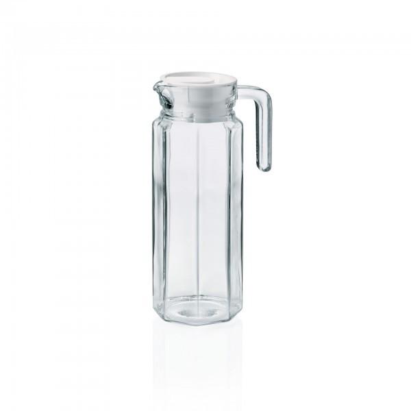 Krug - Glas - mit Kunststoffdeckel