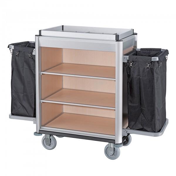 Wäschesammelwagen - Serie Isabella - Aluminium - helle Holzoptik - 2 Säcke - premium Qualität