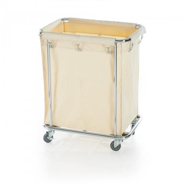 Wäschewagen - verchromt - rechteckig - Stoff-Wäschesack