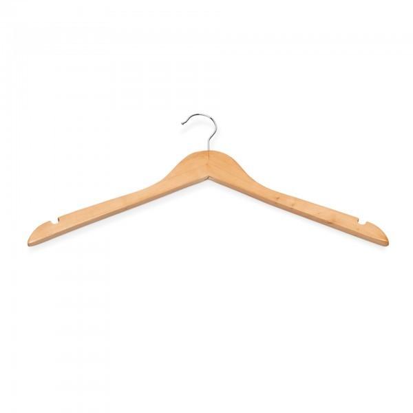 Kleiderbügel - Holz - natur - mit Einkerbungen - extra preiswert