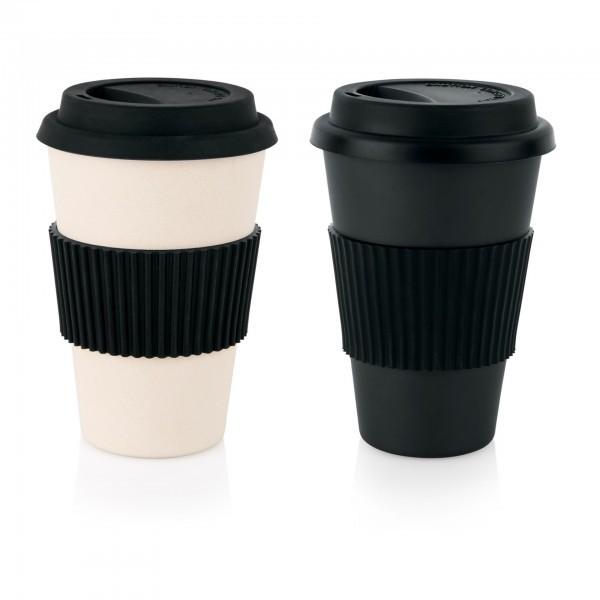 Coffee2go Becher - Bambus / Melamin - 0,35 oder 0,45 l - cremefarbig oder schwarz