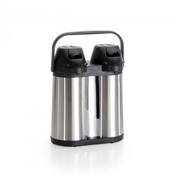 Pump-Isolierkanne - Edelstahl - mit Tragegriff
