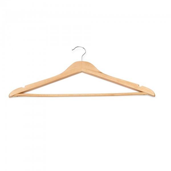 Kleiderbügel - Holz - natur - mit Einkerbungen und Steg