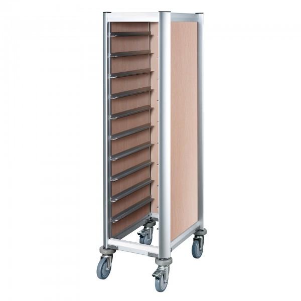 Tablettwagen - Aluminium - helle Holzoptik - passend für 10 Tabletts - premium Qualität