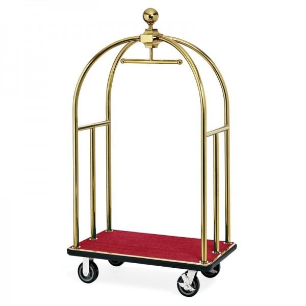 Gepäckwagen - Edelstahl - gold - Teppichfarbe rot - extra preiswert - 2242.000