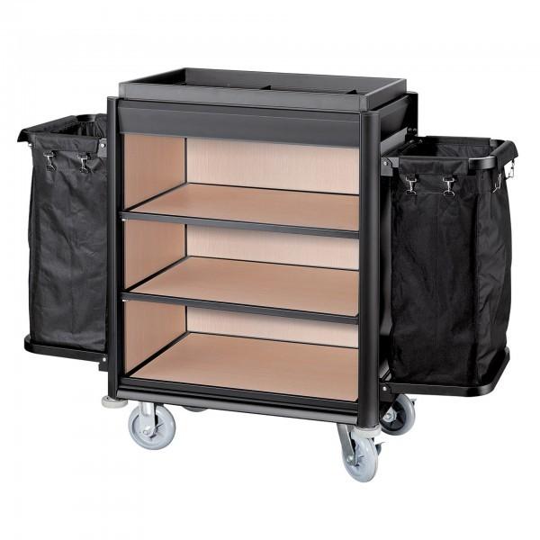 Wäschewagen - Serie Isabella - Aluminium - helle Holzoptik - 2 Säcke - premium Qualität