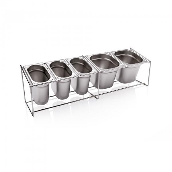 Ständer für Gewürzbehälter - Chromnickelstahl - variabel bestückbar