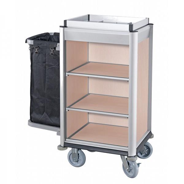 Zimmerservicewagen - premium Qualität - helle Holzoptik - 1 Wäschesack - Serie Isabella