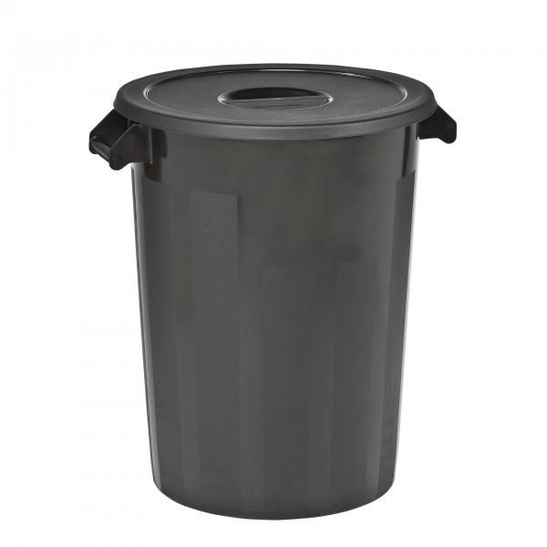 Lagerbehälter - Polyethylen - schwarz - rund