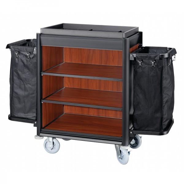 Wäschewagen - Serie Isabella - Aluminium - dunkle Holzoptik - 2 Säcke - premium Qualität - 4459 002