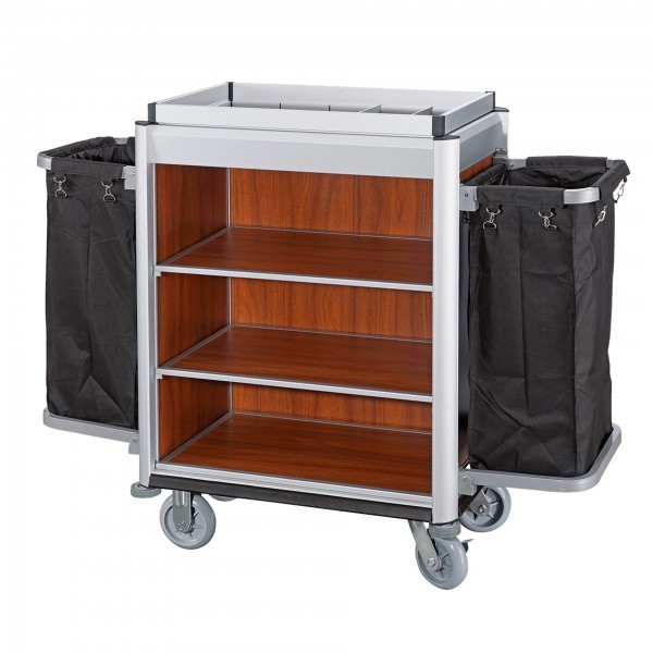 Wäschewagen - Serie Isabella - Aluminium - dunkle Holzoptik - 2 Säcke - premium Qualität
