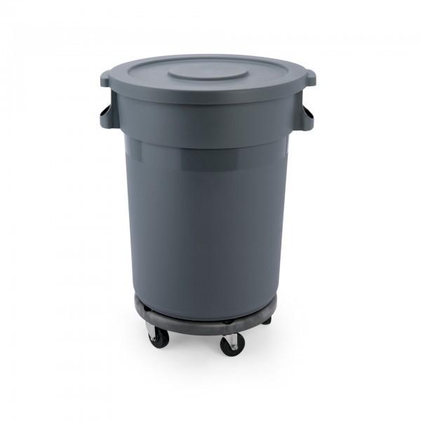Abfallbehälter - Kunststoff - mit Transporttrolley und Flachdeckel