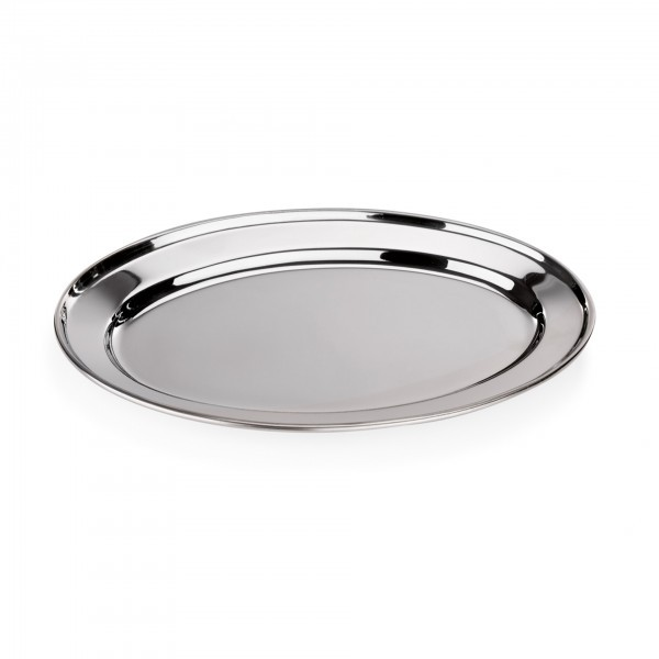 Servierplatte - Chromnickelstahl - oval - mit bordiertem Rand
