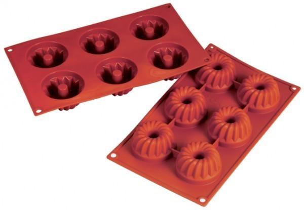 Silikon-Backform, Gugelhupf, 6 Formen, 7,0 x 3,5 cm