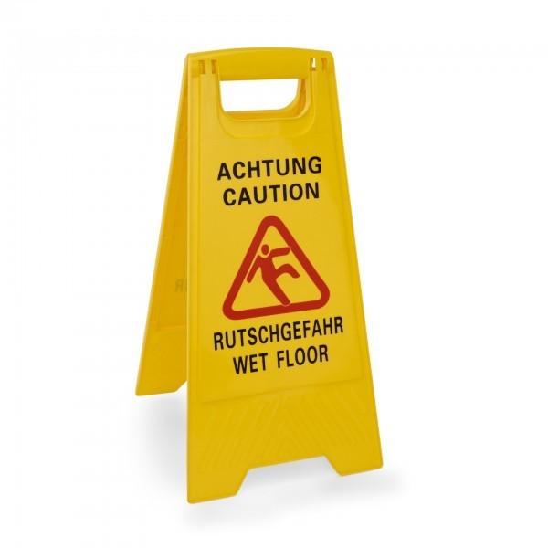 Aufsteller - Kunststoff - beidseitig beschriftet: Achtung Rutschgefahr – Caution Wet Floor - extra preiswert
