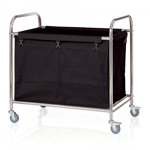 Wäschewagen - Edelstahl - schwarz - rechteckig